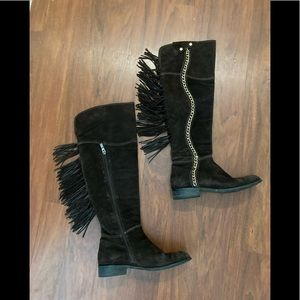 vero cuoio brown suede fringe tall boots w chain